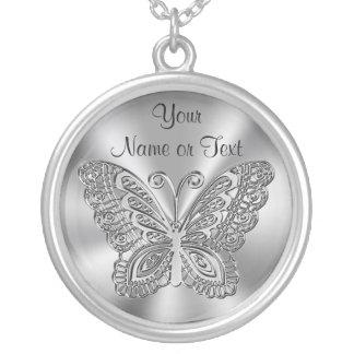 Plata personalizada del collar de la mariposa para
