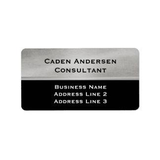 Plata profesional y etiqueta de dirección negra