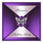 Plata púrpura elegante y blanco del cumpleaños de invitación 13,3 cm x 13,3cm