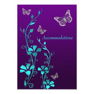 """Plata púrpura floral, recinto 2 del trullo de las invitación 3.5"""" x 5"""""""