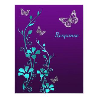 """Plata púrpura floral, tarjeta del trullo de RSVP Invitación 4.25"""" X 5.5"""""""