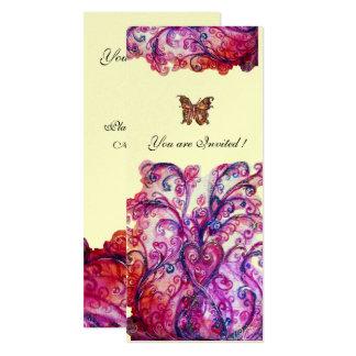 """Plata púrpura rosada roja brillante de los invitación 4"""" x 9.25"""""""