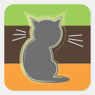 Plata retra del gatito pegatina cuadrada
