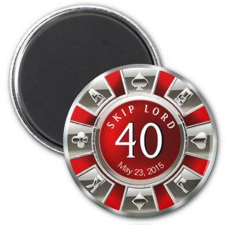 Plata roja del cumpleaños el | del microprocesador imán redondo 5 cm