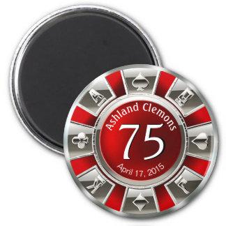 Plata roja del cumpleaños el   del microprocesador imán redondo 5 cm
