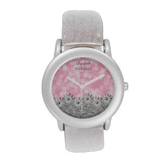 Plata + Rosa + Flores + Bokeh - florista Relojes De Pulsera