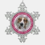 Plata rosada del navidad conmemorativo de la foto  adornos