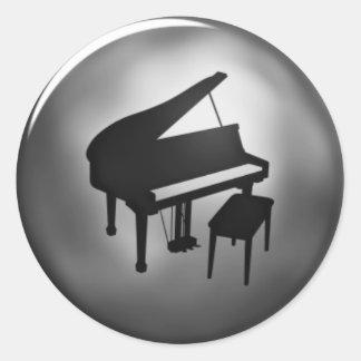Plata simple y pegatinas negros del piano pegatina redonda