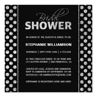 """Plata suntuosa en ducha nupcial negra invitación 5.25"""" x 5.25"""""""