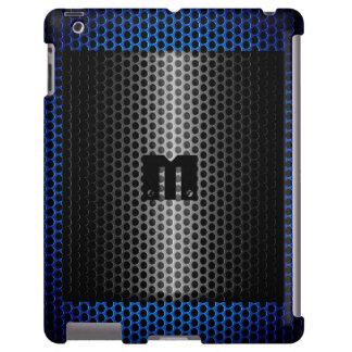 Plata y agujero azul del metal del acero inoxidabl funda para iPad