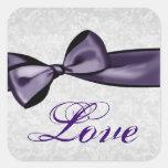Plata y boda púrpura del damasco del amor del arco colcomania cuadrada