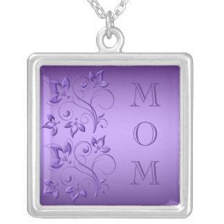 """Plata y collar floral púrpura de la """"mamá"""""""