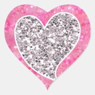Plata y corazones relucientes del rosa pegatina en forma de corazón