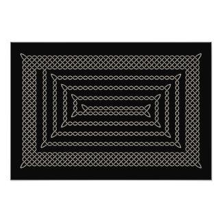 Plata y espiral rectangular céltico del negro fotografías