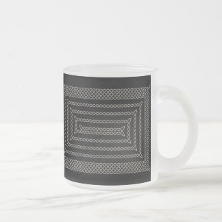Plata y espiral rectangular céltico del negro tazas de café