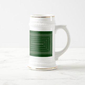 Plata y espiral rectangular céltico del verde jarra de cerveza