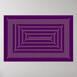 Plata y espiral rectangular céltico púrpura póster