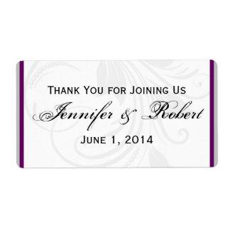 Plata y etiqueta floral púrpura de la botella de a etiqueta de envío