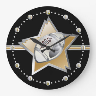 Plata y fútbol y estrella del oro reloj redondo grande