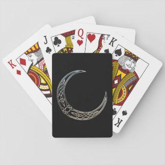 Plata y luna creciente céltica del negro barajas de cartas
