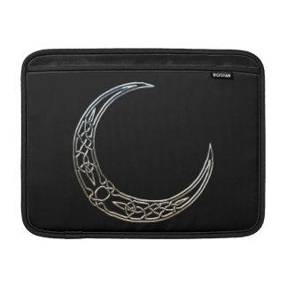 Plata y luna creciente céltica del negro funda macbook air