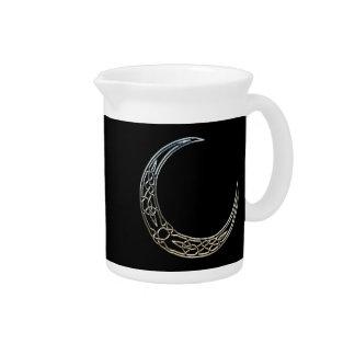 Plata y luna creciente céltica del negro jarras