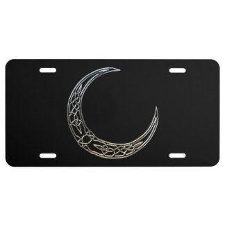 Plata y luna creciente céltica del negro placa de matrícula