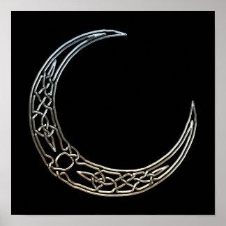 Plata y luna creciente céltica del negro póster