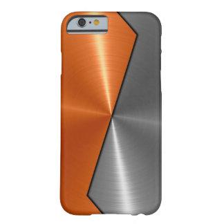Plata y metal anaranjado 5 del acero inoxidable funda para iPhone 6 barely there