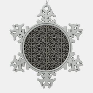 Plata y modelo conectado negro del Celtic de los Adorno De Peltre En Forma De Copo De Nieve