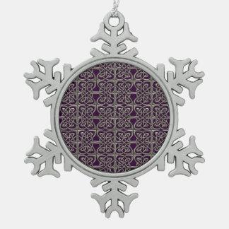 Plata y modelo conectado púrpura del Celtic de los Adorno De Peltre En Forma De Copo De Nieve