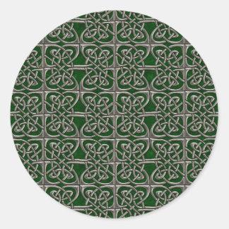 Plata y modelo conectado verde del Celtic de los Pegatina Redonda