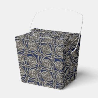 Plata y modelo de nudos espiral céltico azul caja para regalos