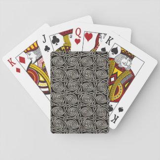 Plata y modelo de nudos espiral céltico del negro baraja de póquer