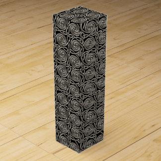 Plata y modelo de nudos espiral céltico del negro caja para botella de vino