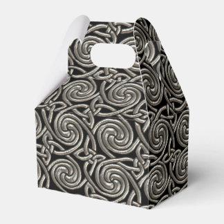 Plata y modelo de nudos espiral céltico del negro cajas para detalles de boda