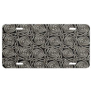 Plata y modelo de nudos espiral céltico del negro placa de matrícula