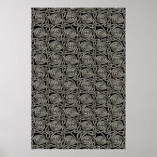 Plata y modelo de nudos espiral céltico del negro póster
