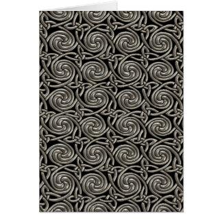Plata y modelo de nudos espiral céltico del negro tarjeta de felicitación