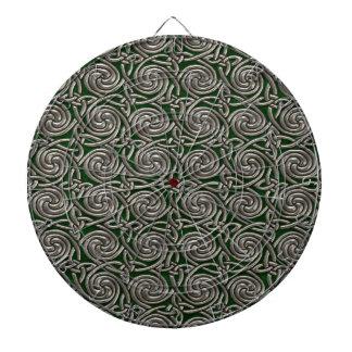 Plata y modelo de nudos espiral céltico del verde tabla dardos