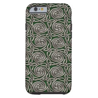 Plata y modelo de nudos espiral céltico del verde funda para iPhone 6 tough