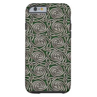Plata y modelo de nudos espiral céltico del verde funda resistente iPhone 6