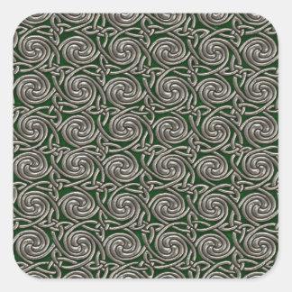 Plata y modelo de nudos espiral céltico del verde pegatina cuadrada