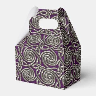 Plata y modelo de nudos espiral céltico púrpura cajas para regalos