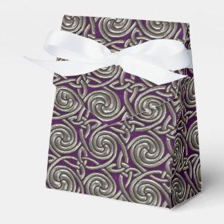 Plata y modelo de nudos espiral céltico púrpura cajas para regalos de boda
