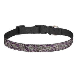 Plata y modelo de nudos espiral céltico púrpura collar de perro