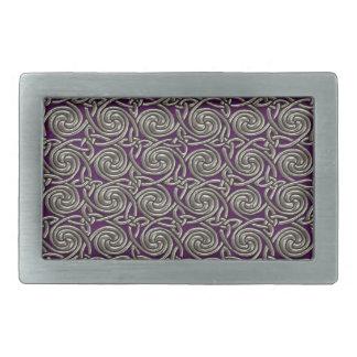 Plata y modelo de nudos espiral céltico púrpura hebilla de cinturón rectangular