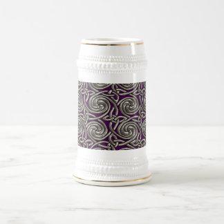 Plata y modelo de nudos espiral céltico púrpura jarra de cerveza