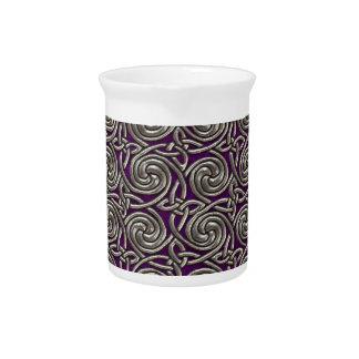 Plata y modelo de nudos espiral céltico púrpura jarras para bebida