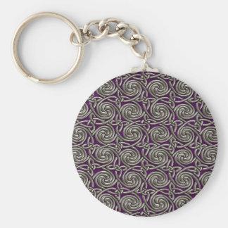 Plata y modelo de nudos espiral céltico púrpura llavero